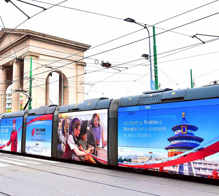 Out of Home advertising IGPDecaux in Milan Wrapped vehicles for Air China