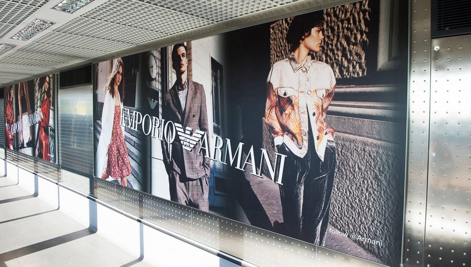 Aeroporto Malpensa pubblicità Finger Armani IGPDecaux