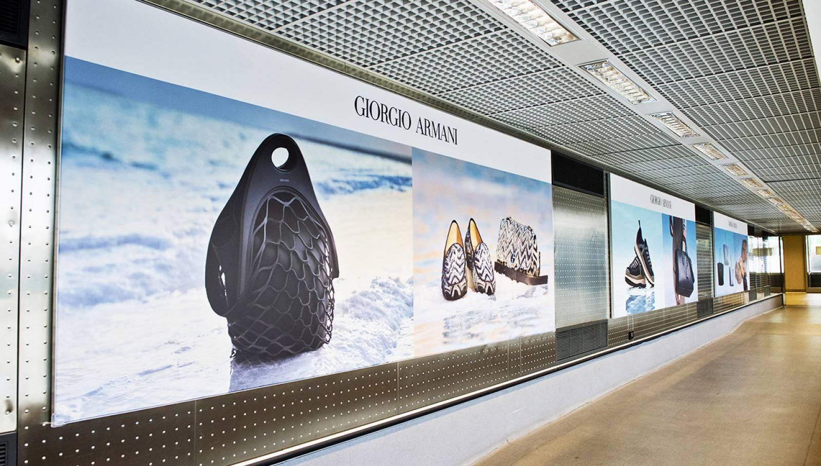 Pubblicità aeroporto Malpensa Finger per Armani IGPDecaux