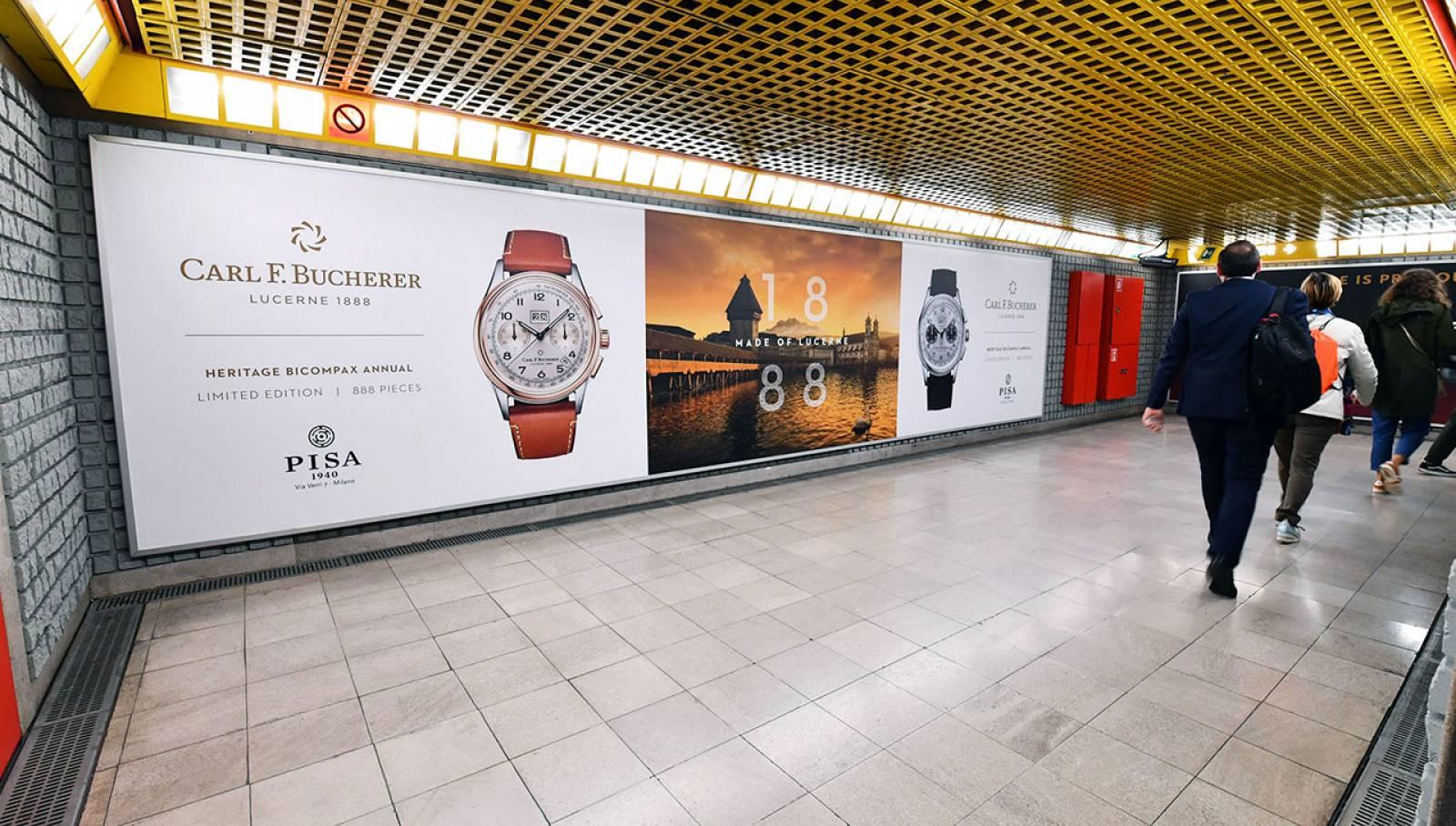 Pubblicità in metropolitana IGPDecaux Station Domination per Pisa Orologeria
