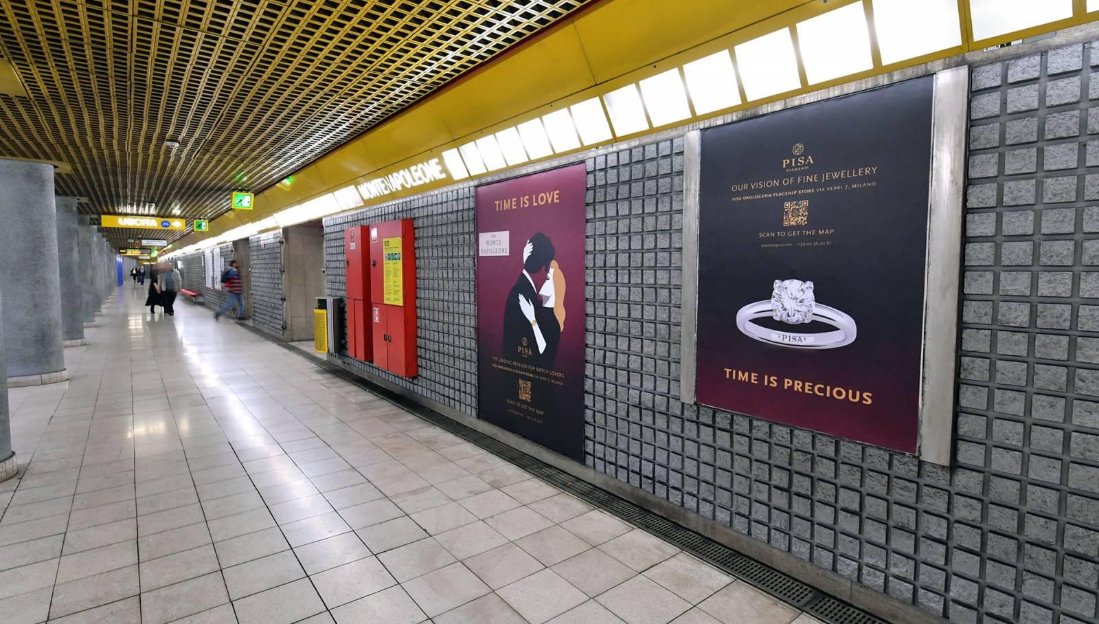 IGPDecaux Out of Home Milano pubblicità in metropolitana per Pisa Orologeria