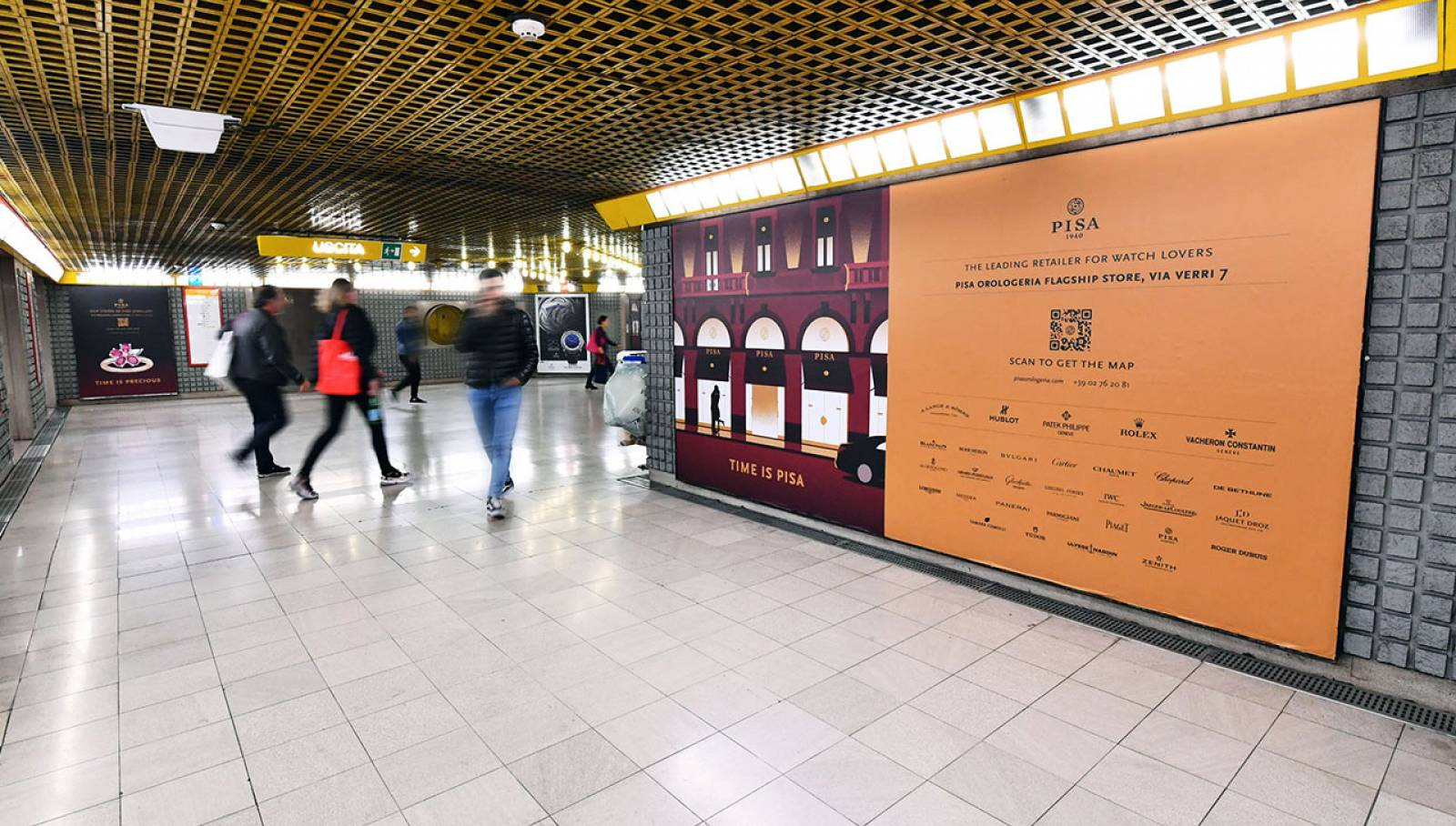 Underground advertising Milan IGPDecaux Station Domination for Pisa Orologeria