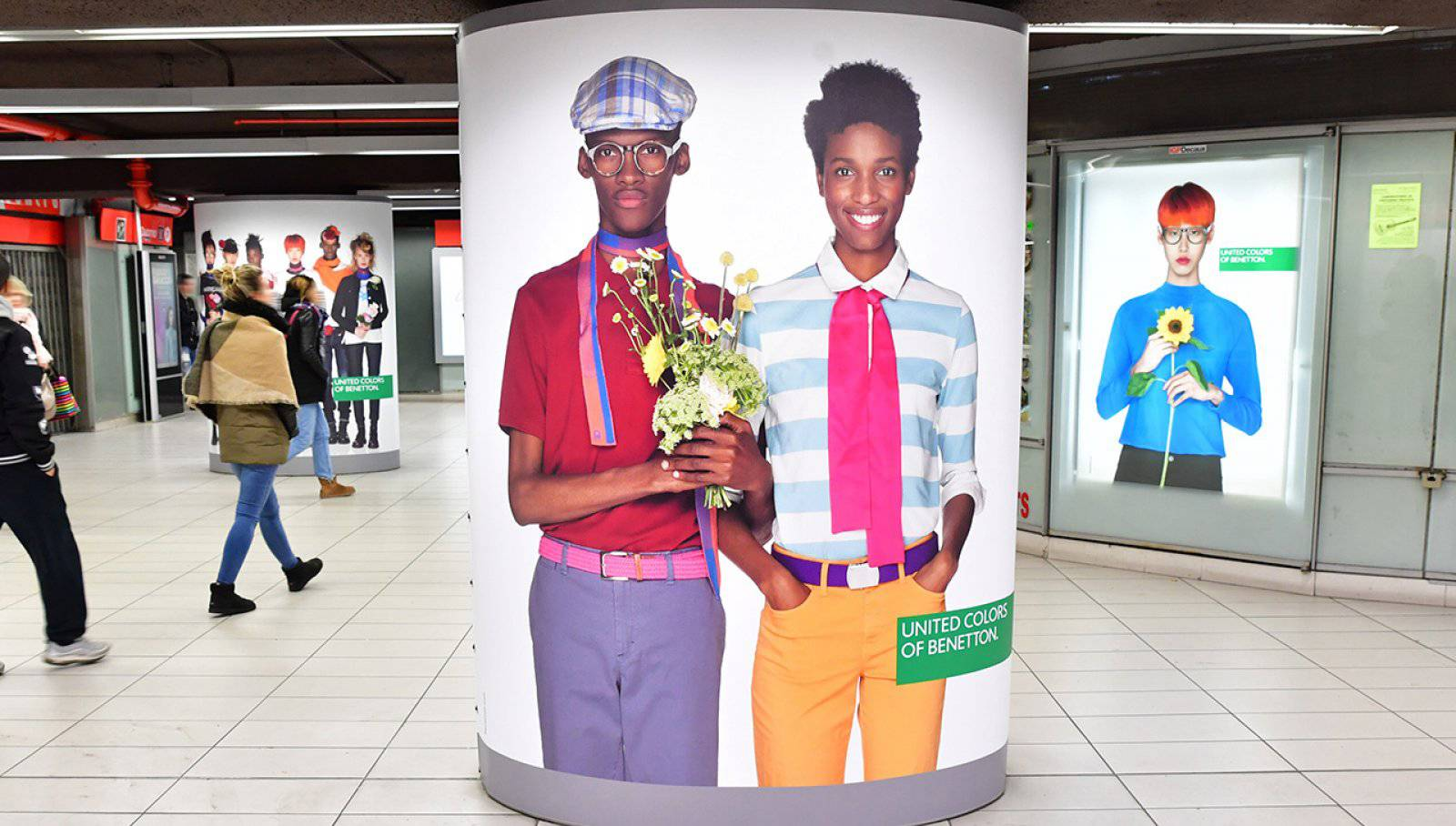 Pubblicità metro Milano IGPDecaux station domination per Benetton