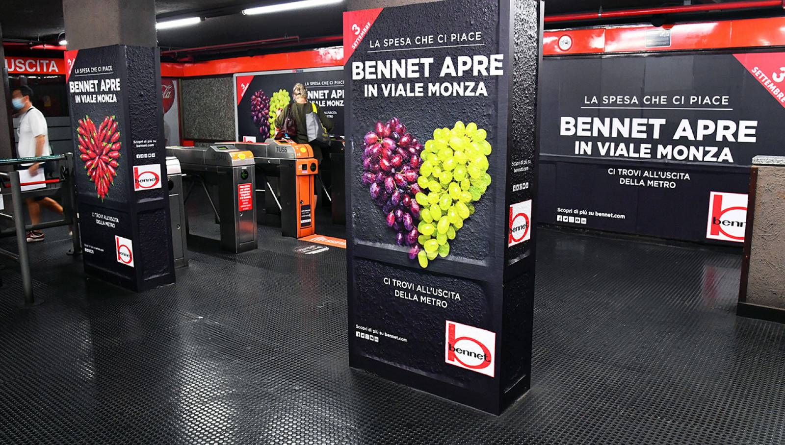Pubblicità Out Of Home in metropolitana a Milano Station Domination IGPDecaux per Bennet
