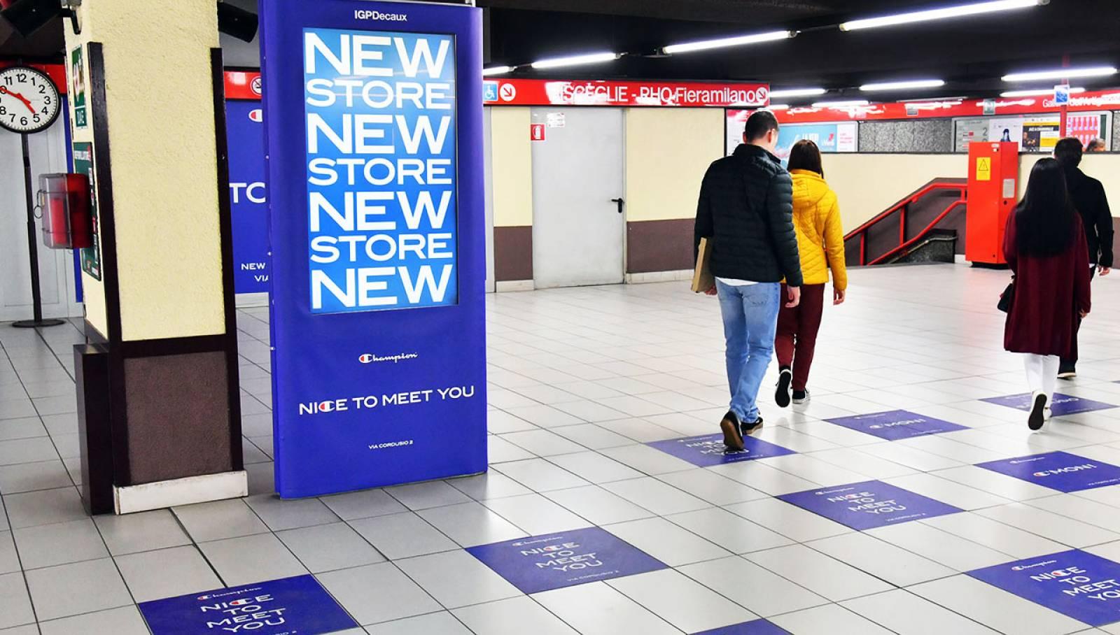 Pubblicità OOH IGPDecaux Station Domination Milano per Champion