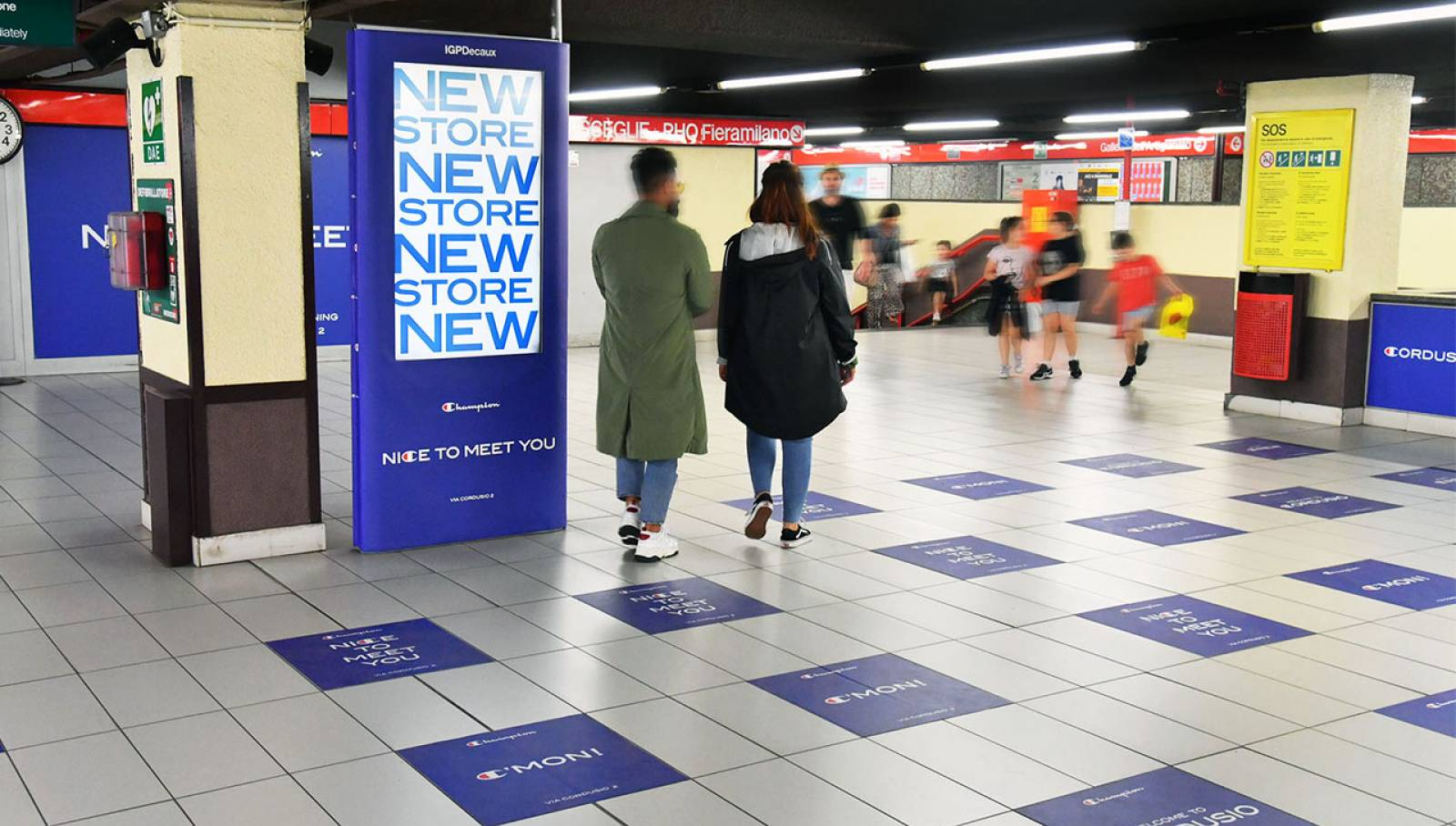 Pubblicità in metropolitana a Milano Station Domination IGPDecaux per Champion