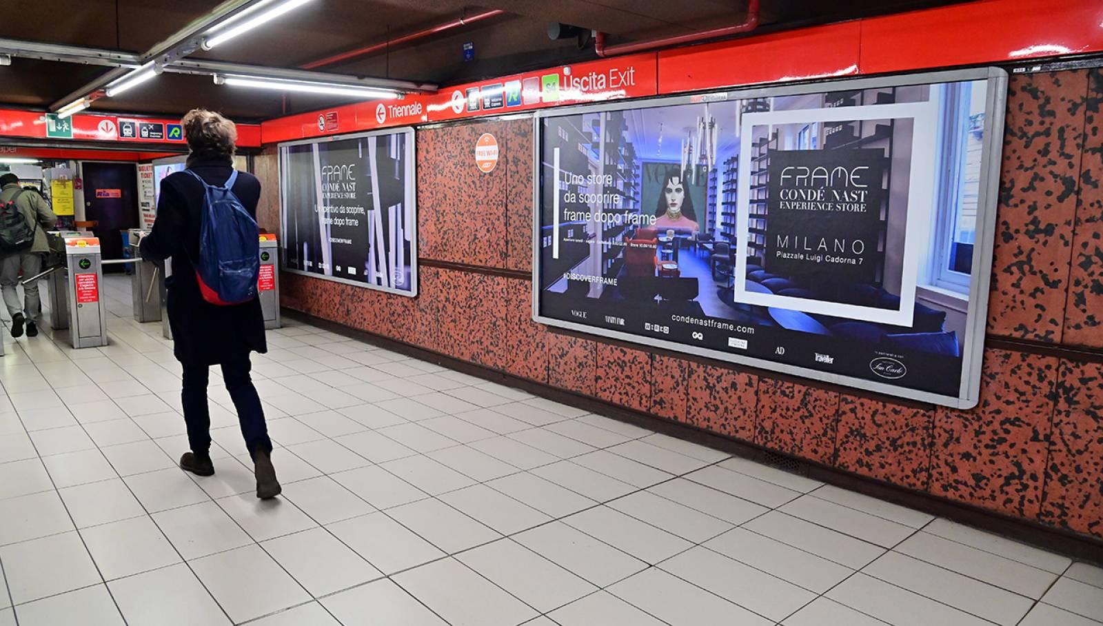 Pubblicità in metropolitana IGPDecaux a Milano Station Domination per Condé Nast Italia