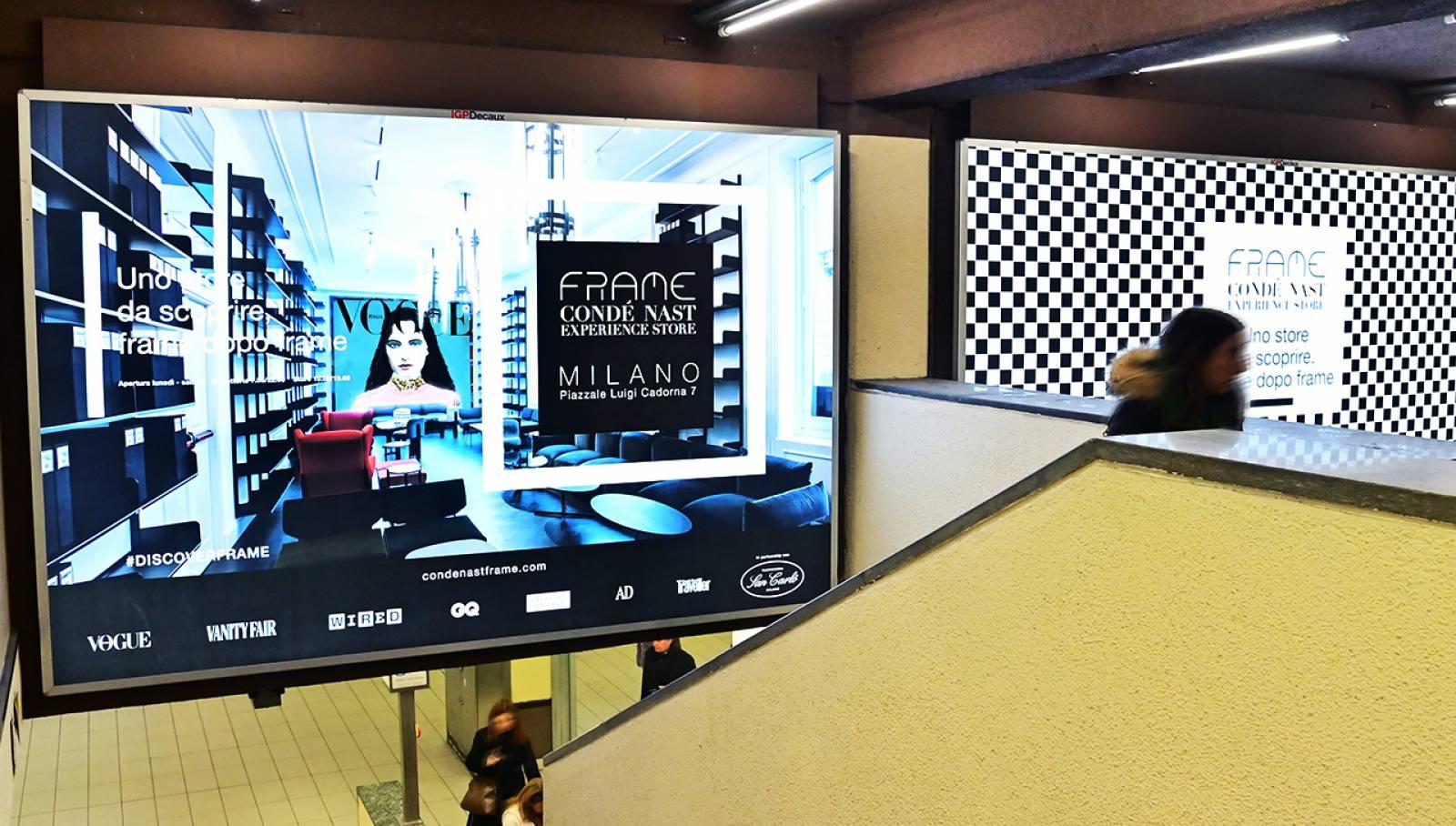Pubblicità outdoor a Milano Station Domination per Condé Nast