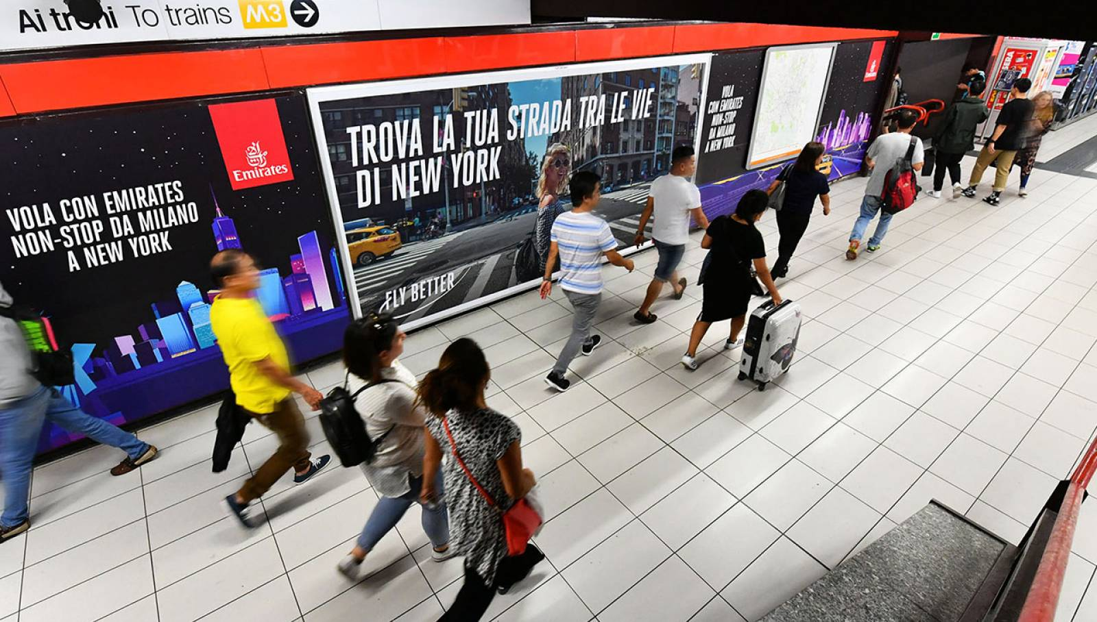 OOH advertising IGPDecaux Station Domination in Milan for Emirates