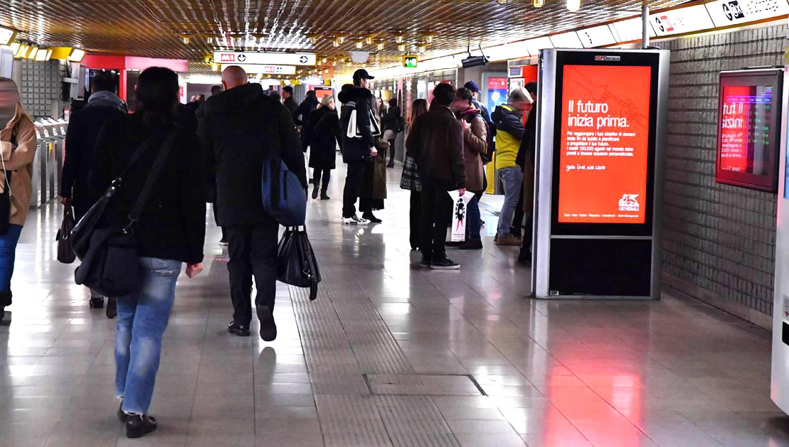 Pubblicità in metropolitana IGPDecaux circuito digital per Generali a Milano