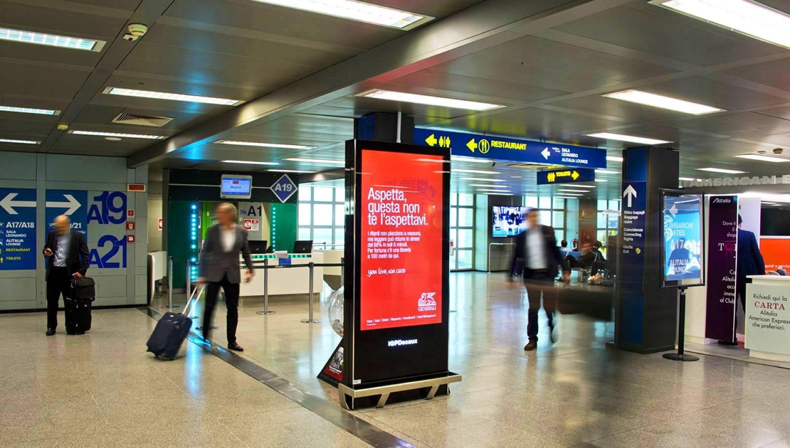 Aeroporto Linate pubblicità circuito digital per Generali IGPDecaux