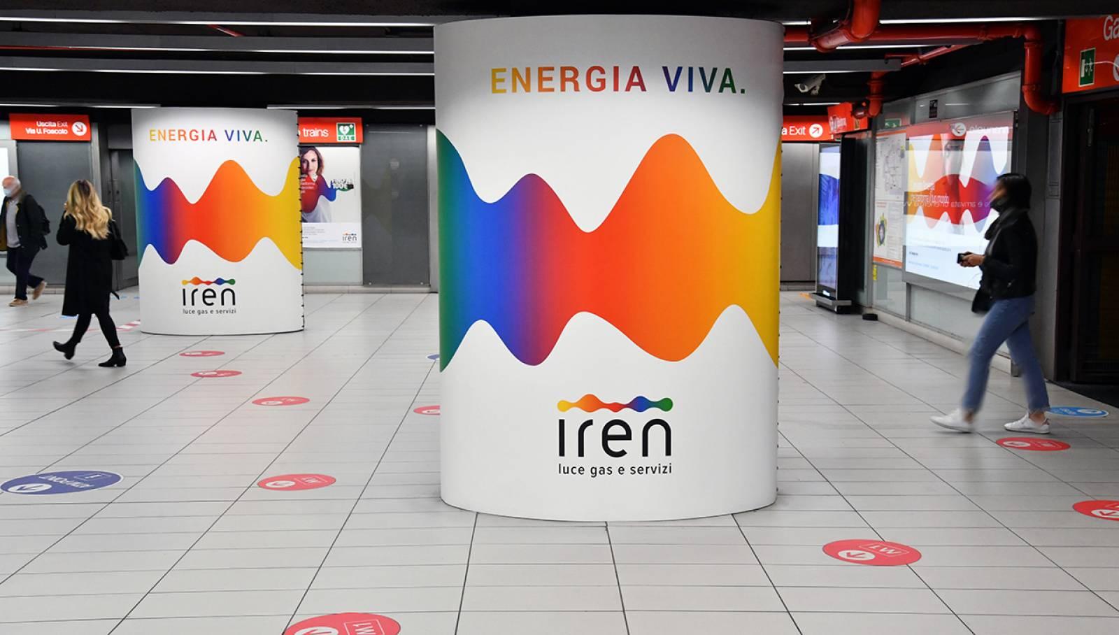 Pubblicità metro Milano Station Domination IGPDecaux per Iren