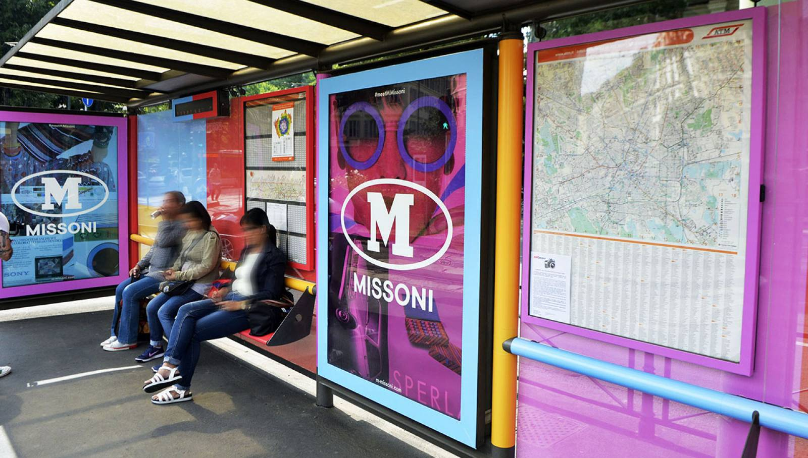 OOH advertising IGPDecaux Brand shelters in Milan for M Missoni