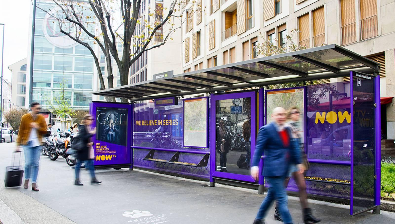 Pubblicità OOH IGPDecaux Brand Pensiline per il Trono di Spade Now TV a Milano