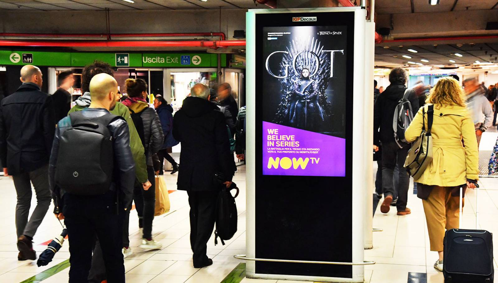 IGPDecaux pubblicità in metropolitana Circuito digital a Milano per il Trono di Spade Now TV