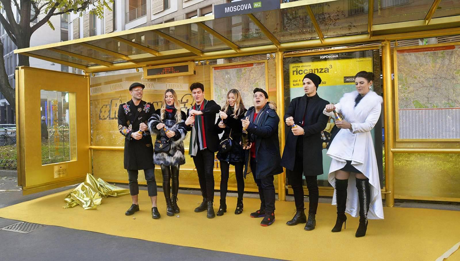 IGPDecaux Milano pensilina in oro per Riccanza MTV