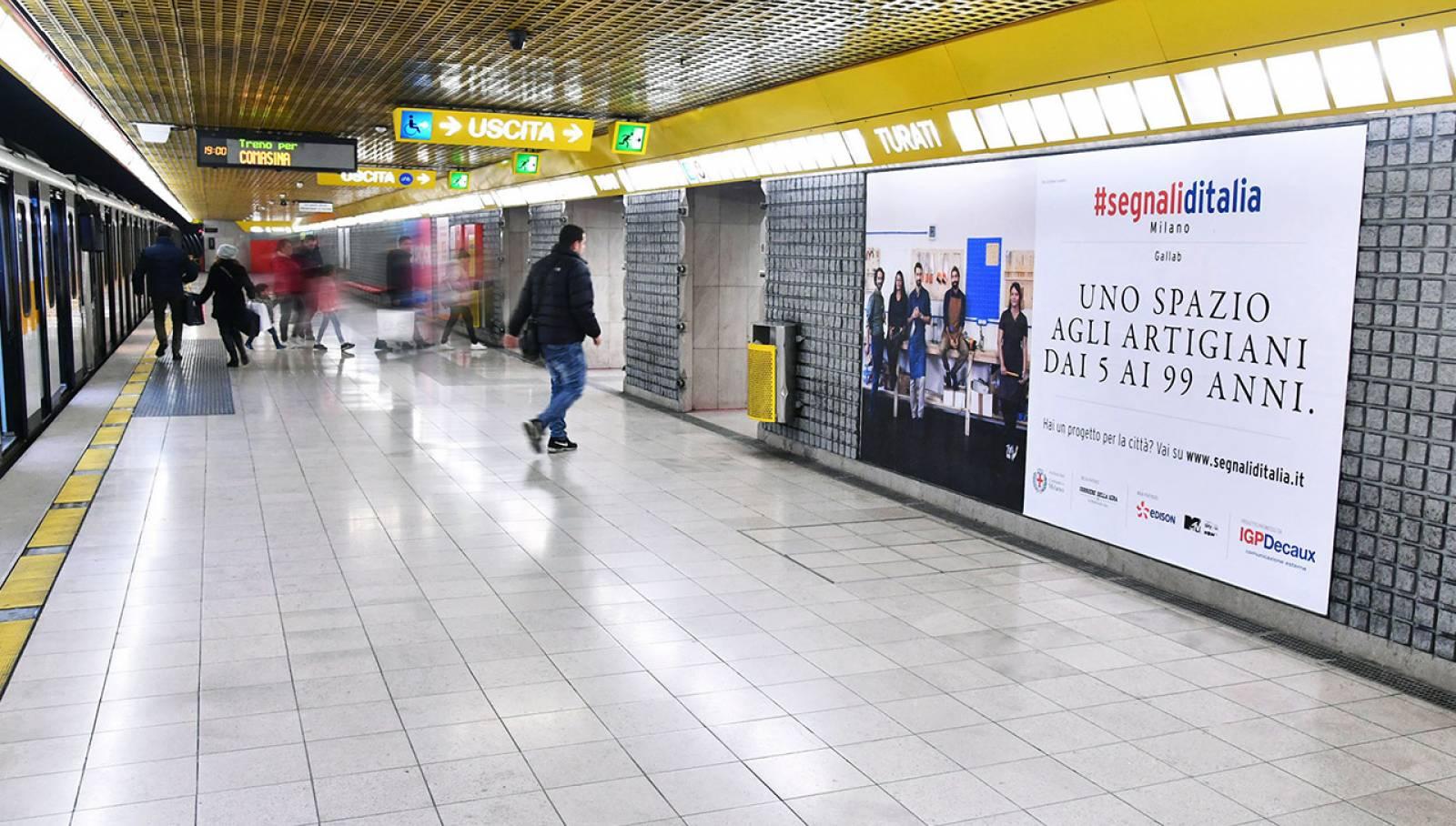 Pubblicità in metropolitana IGPDecaux Circuito Phygital per Segnali d'Italia a Milano