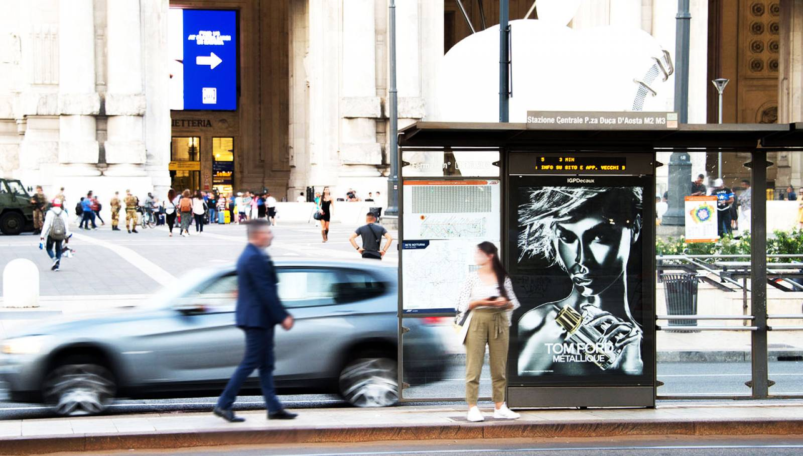 Bus shelters for Tom Ford IGPDecaux Milan