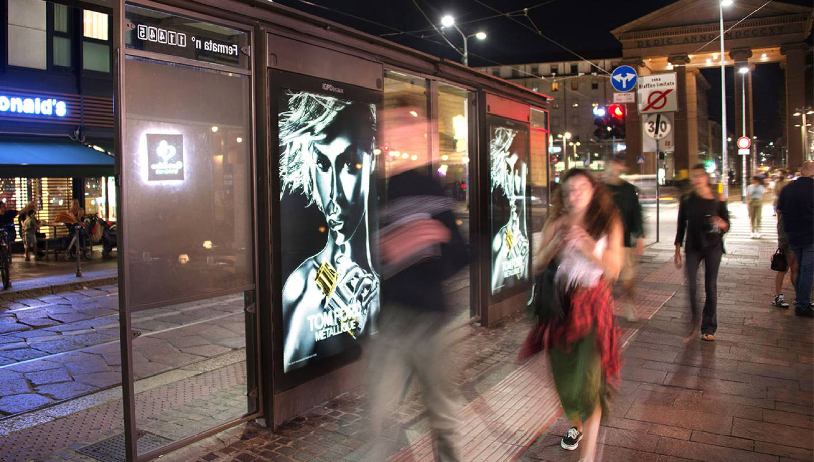 Bus shelters in Milan for Tom Ford IGPDecaux OOH Advertising
