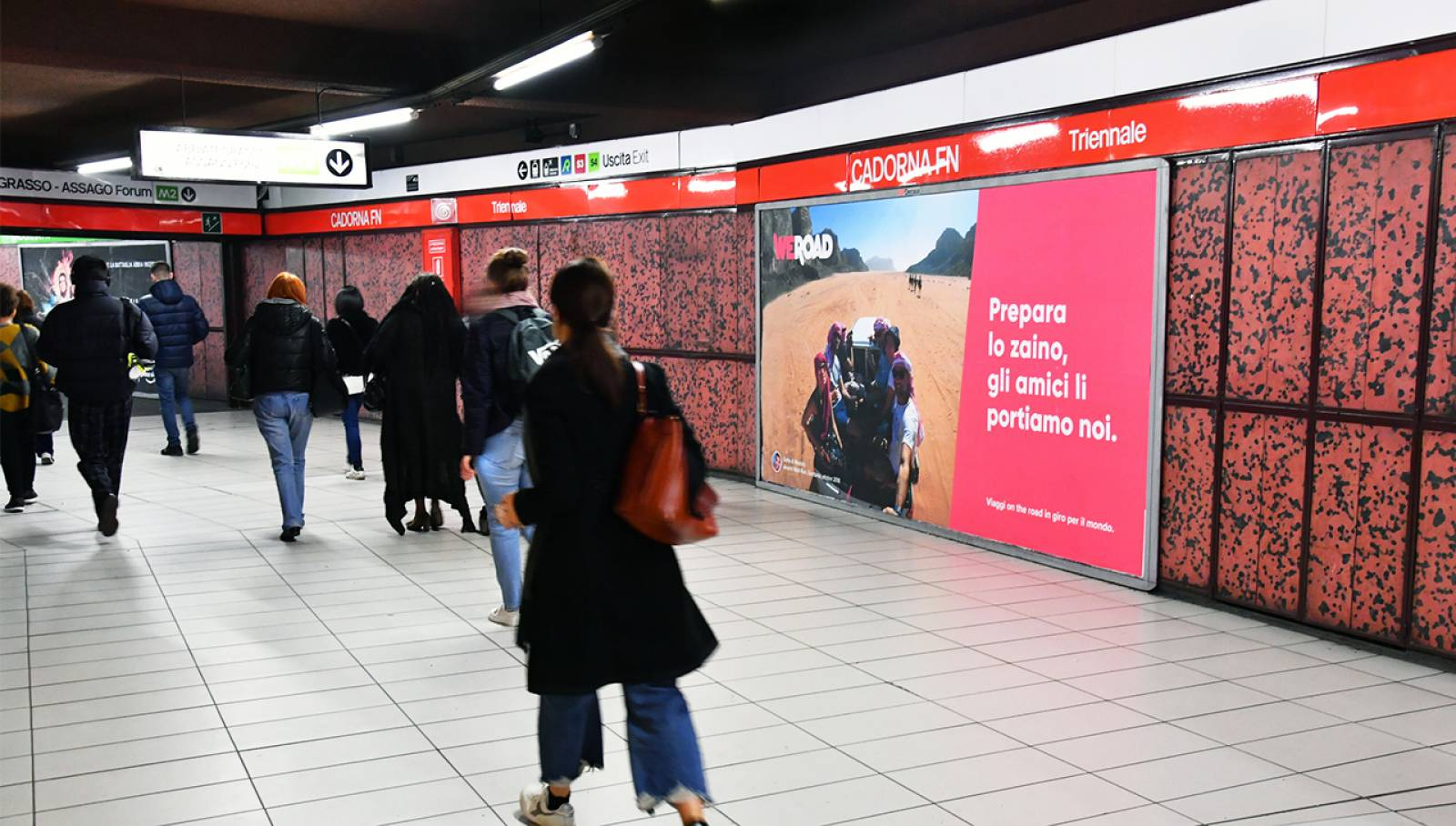 Underground OOH advertising IGPDecaux Landscape Coverga Network in Milan for WeRoad