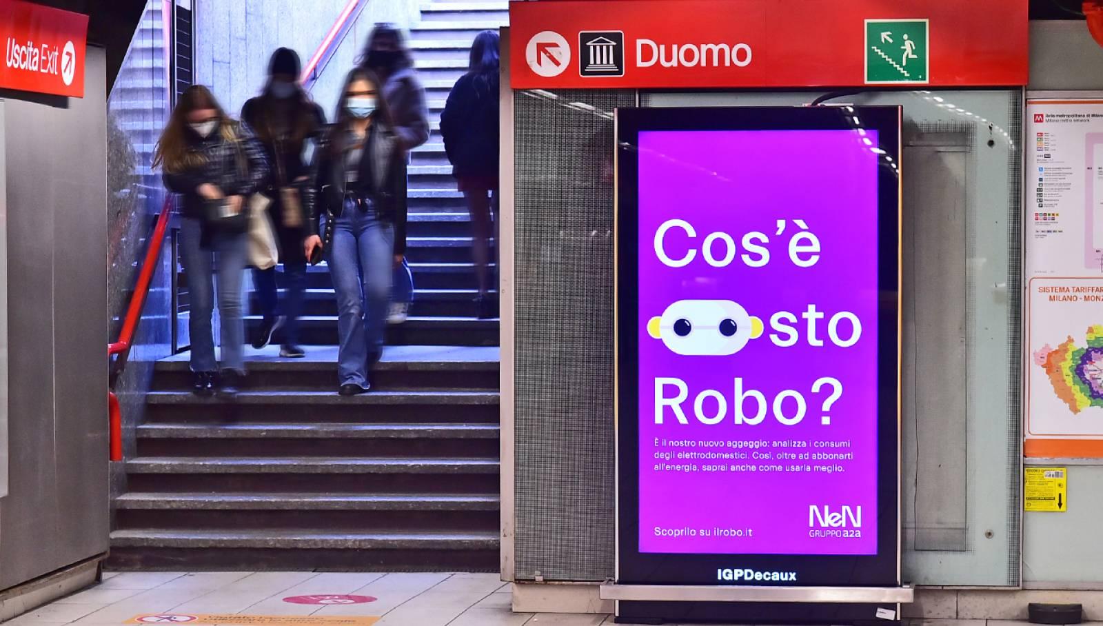 Pubblicità in metropolitana IGPDecaux Milano Network Vision per NeN