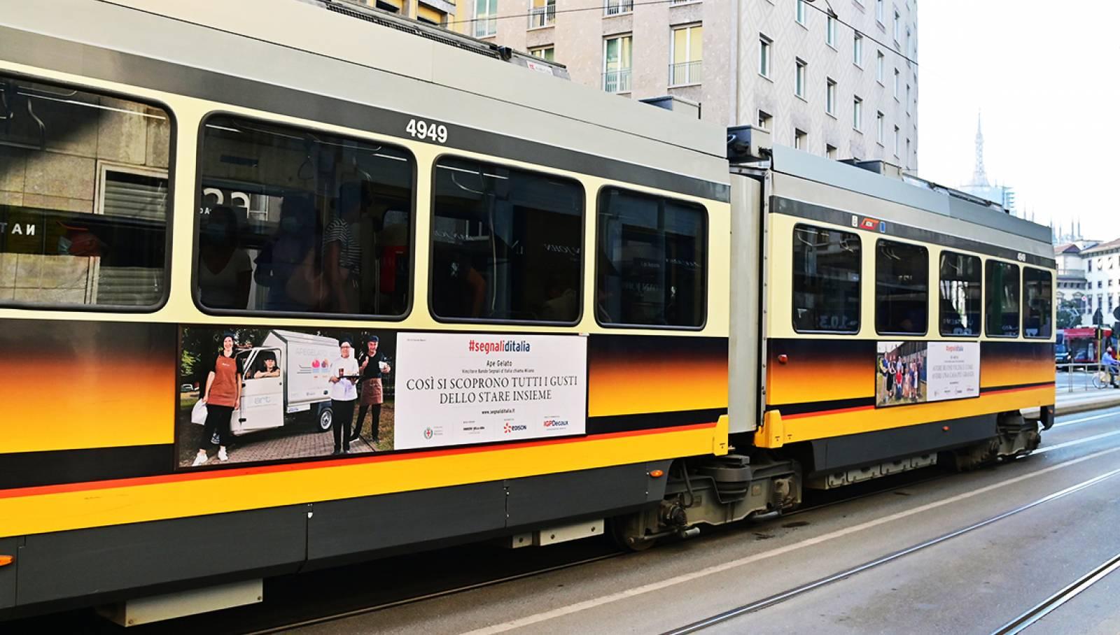 IGPDecaux campagna OOH Segnali d'Italia vincitori bando Segnali d'Italia chiama Milano sidebanner per ApeGelato