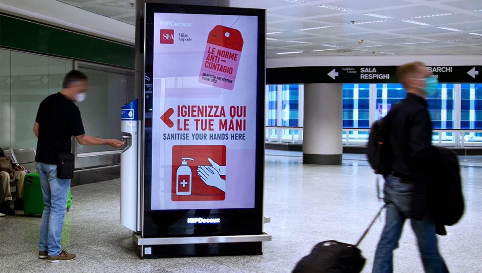 IGPDecaux gel disinfettante a Milano Malpensa