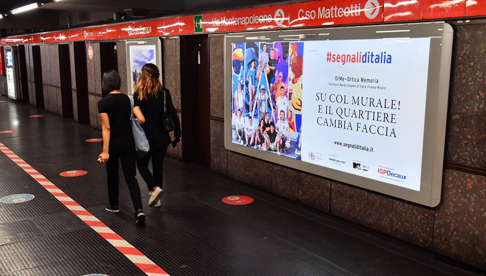 Pubblicità OOH a MIlano in metropolitana circuito Maxi per Segnali d'Italia progetto OrMe Ortica Memoria