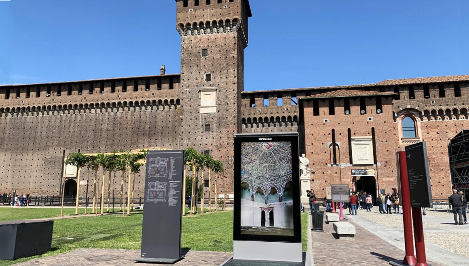 Schermo digitale IGPDecaux per la Sala delle Asse al Castello Sforzesco Milano