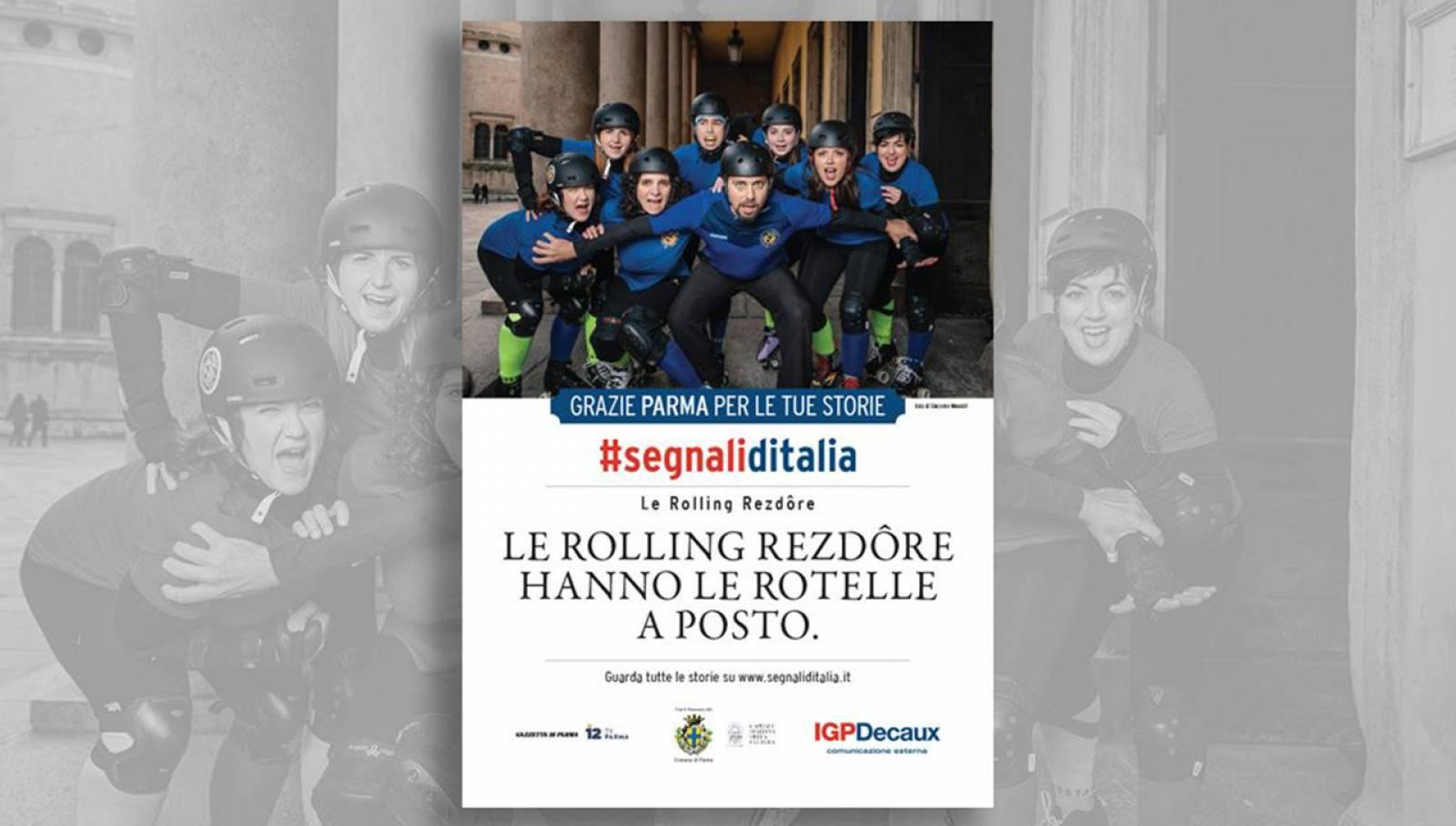 Segnali d'Italia campagna di ringraziamento Parma per le Rolling Redzore