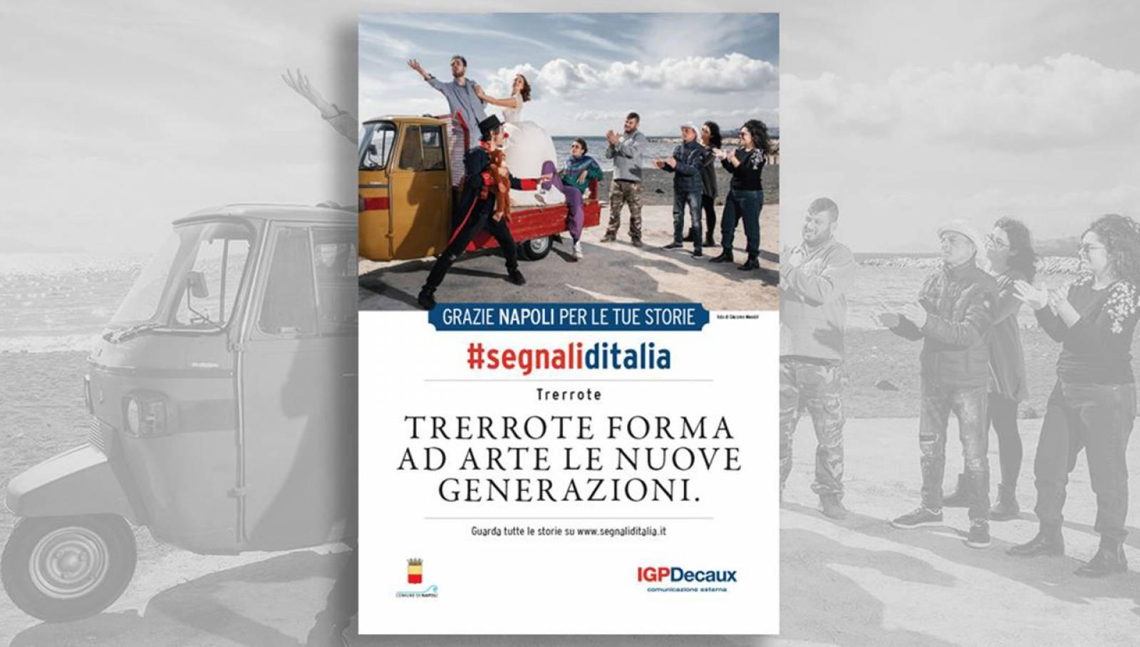 Segnali d'Italia campagna di ringraziamento Napoli per Trerrote