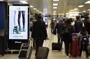 Pubblicità aeroporto Linate Network Vision Aeroporto per Sergio Rossi IGPDecaux