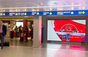 Linate airport advertising IGPDecaux Maxi LED/Videowall for Sky