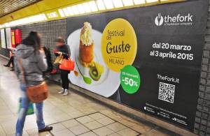 Underground advertising IGPDecaux Phygital Network in Milan for The Fork