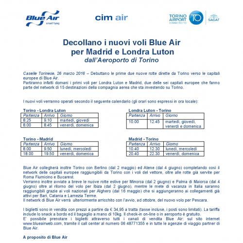 watch 82b42 968d2 Decollano i nuovi voli Blue Air per Madrid e Londra Luton ...