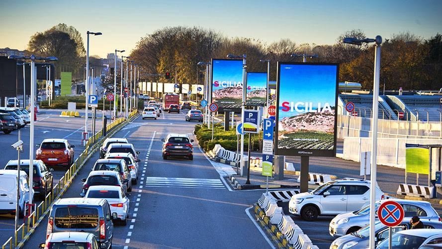 Airport advertising IGPDecaux 8sq m at Linate for Regione Sicilia