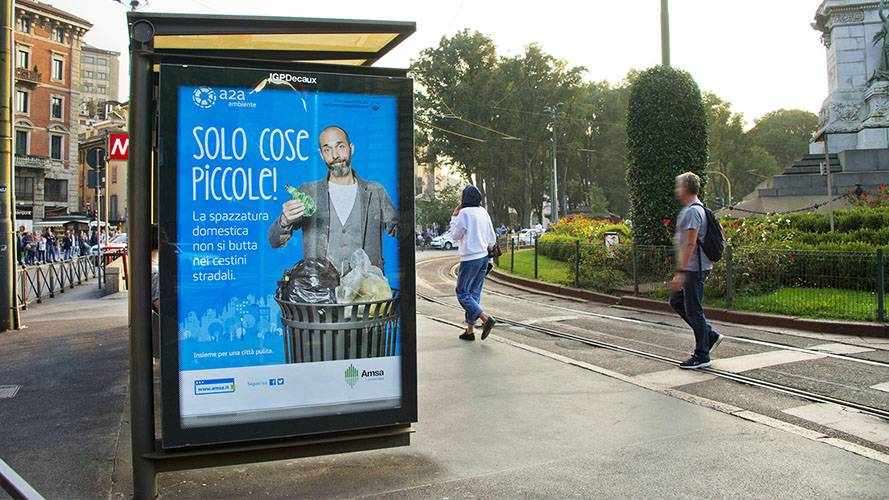 Outdoor advertising IGPDecaux brand shelter + Mupi for a2a in Milan