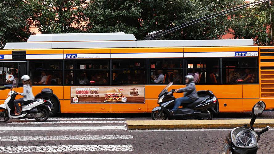 Out of Home advertising in Naples IGPDecaux Side Banner for Burger King