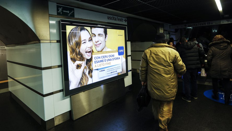 Underground advertising IGPDecaux Landscape Coverage Network in Rome for Cepu