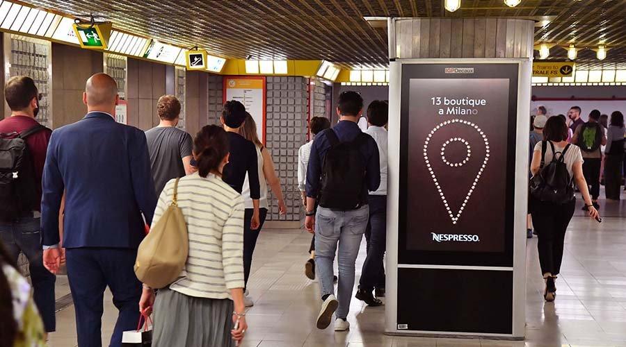 Pubblicità metropolitana a Milano circuito digital per Nespresso IGPDecaux