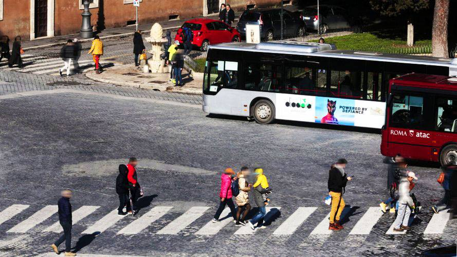 Bus advertising IGPDecaux Landscape Stickers in Rome for Diadora