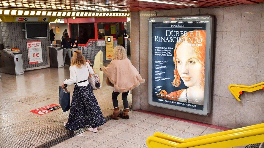 underground advertising Milan IGPDecaux Portrait Coverage Network for Durer Exhibition