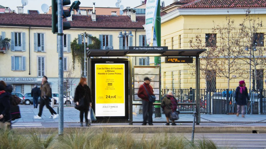 Advertising on shelters in Milan Vision Network IGPDecaux for Fastweb