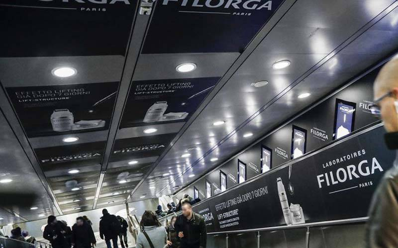 dooh media IGPDecaux digital escalator in Rome for Filorga