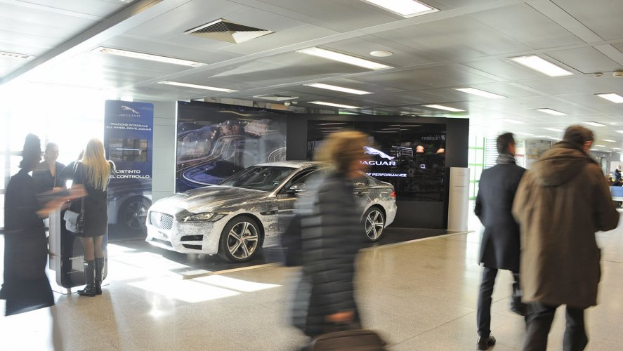 Airport advertising at Linate Exhibition area for Jaguar IGPDecaux