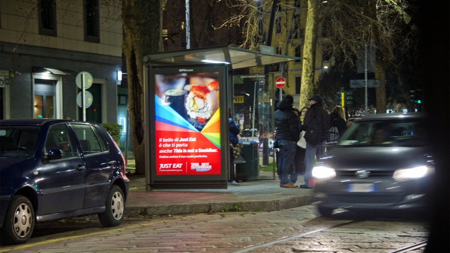 ooh advertising IGPDecaux brand shelter+ Mupi for Just Eat in Milan