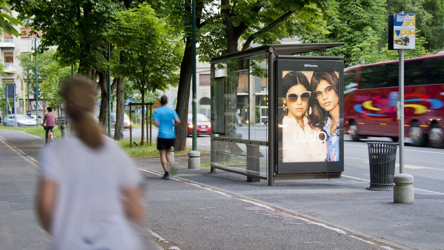 Advertising on bus shelters IGPDecaux bus shelter + Mupi in Milano for Liu Jo