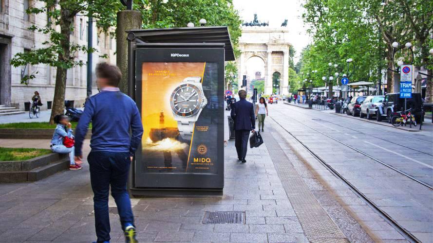 IGPDecaux Milano pubblicità sulle pensiline per Mido