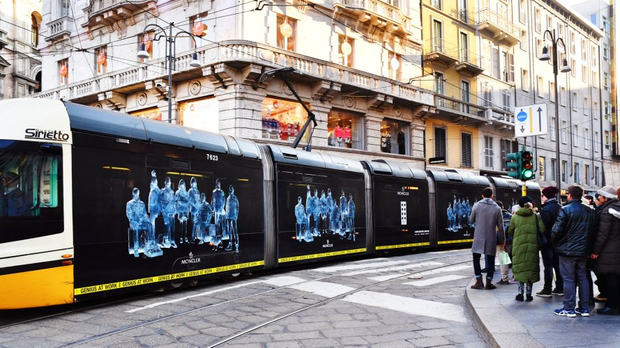 Advertising on tram Milan IGPDecaux Full-Wrap for Moncler