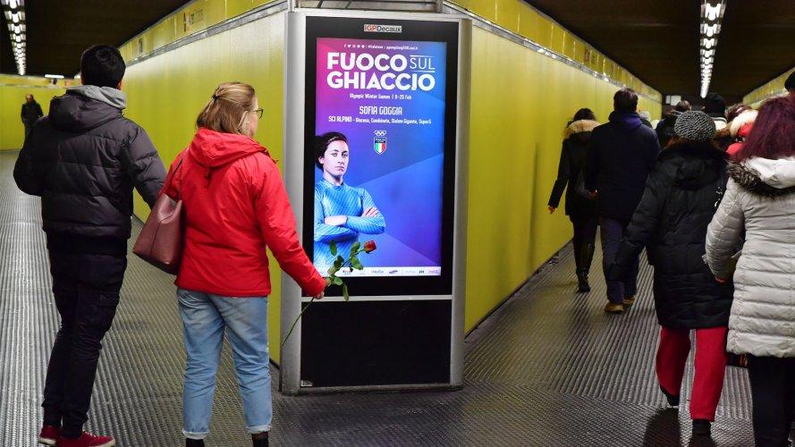 Pubblicità metropolitana milanese Network Vision Metropolitana IGPDecaux per Olimpiadi